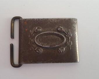 Vintage steel belt buckle, North & Judd anchor mark, probably 1930's rose design motif