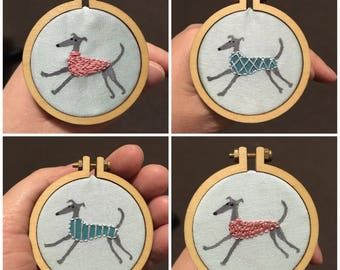 Mini embroidery hoop greyhound whippet brooch or necklace - zoomies series