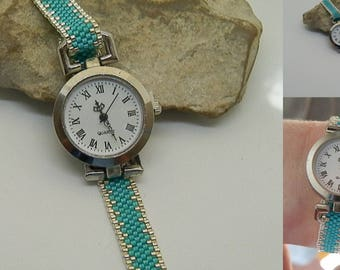 Turquoise and silver woven bracelet watch