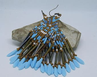 Blue, white and bronze seed bead weaving earrings