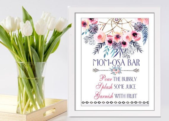 Bohemian Baby Shower Mimosa Bar Sign. Boho Watercolor Floral Baby Shower  Decoration. Dream Catcher Sign TRI024