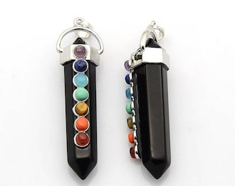 ON SALE Black Stone Cap Chakra Pendant