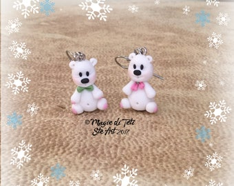 """Polar bears"" earrings in polymer paste-Fimo"
