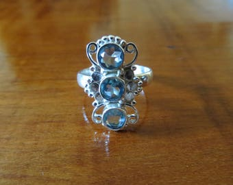 Art Deco Sterling Silver Blue Crystal Ring Size 8.5