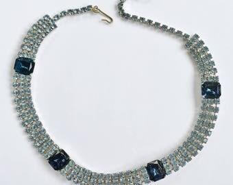Gorgeous Sapphire Blue & Light Blue (3 row) Choker Necklace