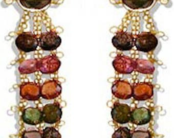 Michael Ases Designer Gold and Tourmaline Stone Dangling Earrings & Necklace Set