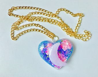 Pastel Holographic Moon Child Kawaii Necklace