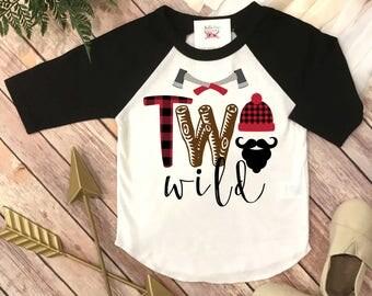 Two Wild, Lumberjack Birthday, 2nd Birthday shirt, Buffalo Plaid Party, Lumberjack Party, Woodland Party Set, Two Wild Birthday, Second Bday