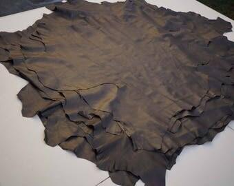 Dark Brown Italian lambskin hide Garment leather Genuine Sheep/Lamb skins