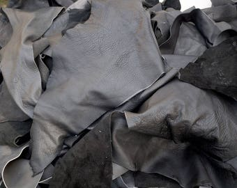 Black/Grey Upholstery mix cowhide Leather scrap pieces  2-3 hands