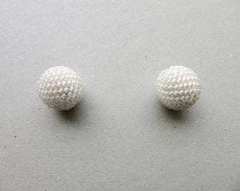 2 Handmade Beaded Beads, White Beads
