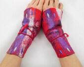 Manchettes-mitaines en laine feutré brodées-Feuille à enrouler-rouge-violet
