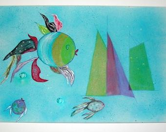 ART/painting naive fish and boats, abstract painting for kid's room H.ANGIARI