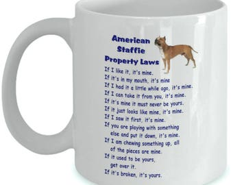 Property Laws Mugs - various available) - American Staffie, Labrador (yellow), Border Terrier, Cav.King Charles, Boxer