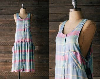 Pastel Plaid Pinafore Dress - 80s 90s Button Front Jumper - Blue / Pink Drop Waist Apron Dress - Oversized Small S