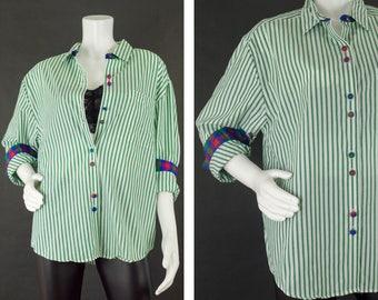 Vintage Women's Long Sleeve Shirt, Green Pinstriped Shirt, Mixed Print Blouse, Cotton Shirt, Talbots Dress Shirt, Women's Size Large