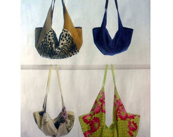 Handbag, Purse, Hobo Style Shoulder Tote Bag Sewing Pattern Great for Denim,Leather, Cotton Prints, Uncut Butterick B5578