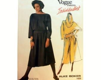 Vogue Individualist Designer Alke Boker Pullover Dress With Bateau Neckline and Separate Hood Sewing Pattern 1439 Misses Size 10 Uncut