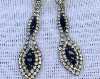 Vintage Rhinestone & Black Crystal Drop Earrings