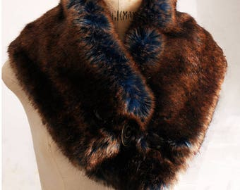 Neck scarf in a beautiful faux fur Brown and blue very glam