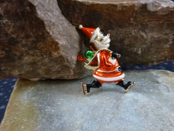 Ice Staking Santa with Bag of Presents Vintage Pin | Beatrix Christmas Brooch with Festive Santa Claus Delivering Presents on Skates