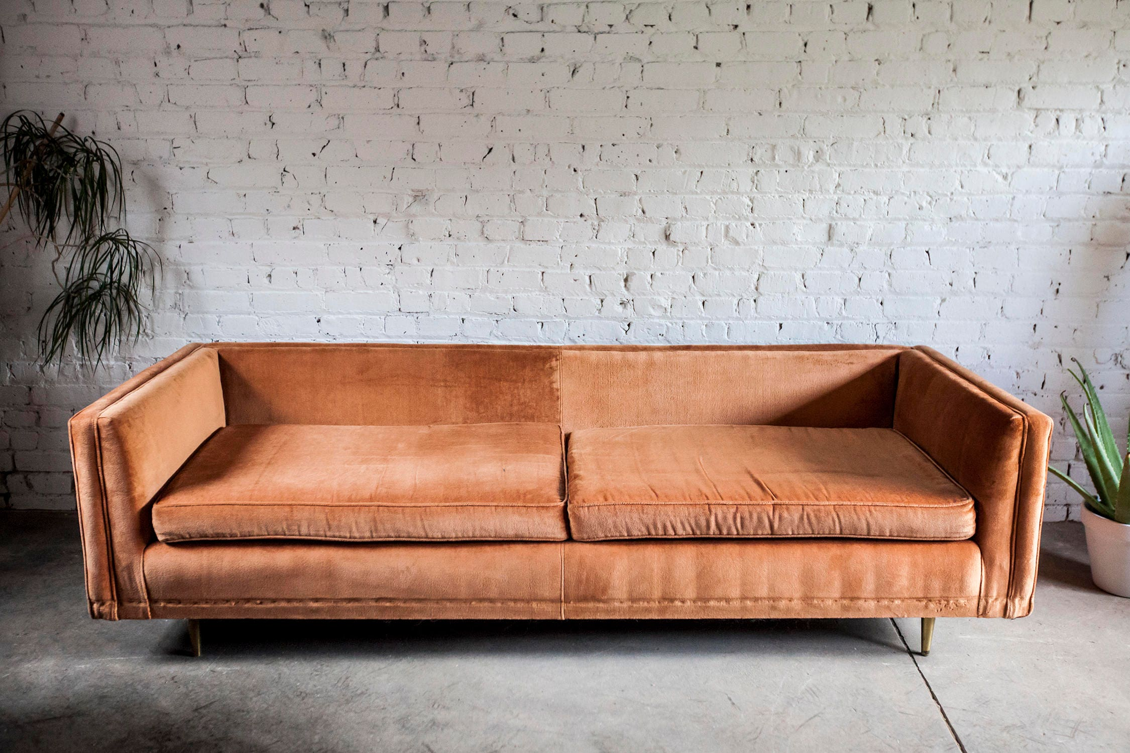 Vintage Mid Century Coral Orange Sofa Peg Leg Low Profile MCM