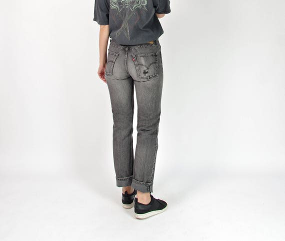 90s Levi's 501 distressed denim high waisted jeans / w31 l32