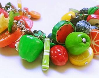 Bracelet whis fruits Lemon Apple  Bracelet whis berries Summer Spring Bracelet whis apples Bracelet whis lemon Bracelet whis strawberries