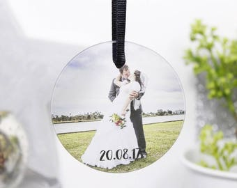 Wedding Photo Bauble - Wedding Christmas Hanging Decoration - First Married Christmas Bauble - Mr and Mrs Photo Christmas Bauble