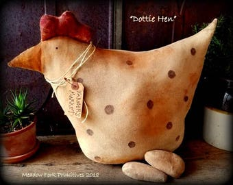 Primitive Folk Art Handcrafted Dottie Hen-Farmer's Market-Farmhouse Chicken-Home Decor-Handmade-Chicken and Eggs-Spring-Primitive Critter