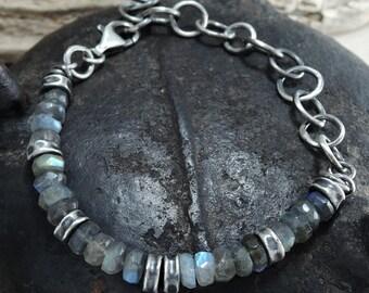 man labradorite bracelet, raw labradorite, boho, bohemian, raw labradorite bracelet, dark sterling silver bracelet