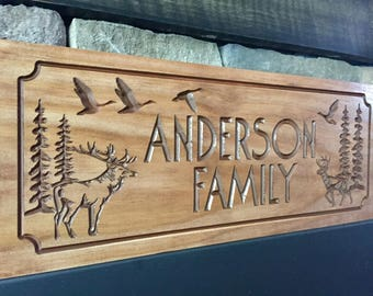 Wooden Carved Sign,  Cabin Sign, Address Plaque, Welcome Sign, Ranch Decor, elk, deer, ducks Hunting Wood Wall Art Camp Sign Benchmark Signs