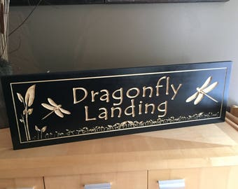 Dragonfly Sign, Wooden Carved Garden Sign , Dragonflies, Camp Sign, Weekend Camping, Lakehouse Sign, Cottage Sign, Father's Day