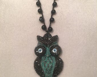 """36"""" Crochet chain with hematite crystal owl necklace"""