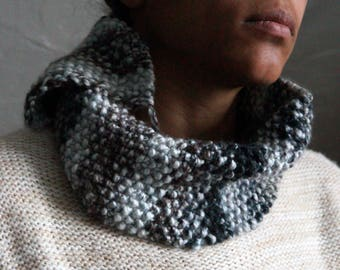 Gray Soft Knit Cowl ~ Knitted Infinity Scarf