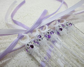 24 Wedding Bubble Wands with rhinestone and (2) ribbons