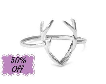 Stag Ring, Deer Ring, Deer Antler Ring, Antler Ring, Deer Horn Ring, Animal Ring, Bohemian Rings, Unique Jewelry, Sterling Silver Ring