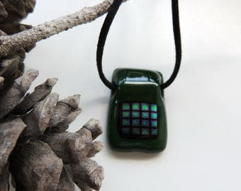 Fused glass pendant necklace, green rectangle necklace