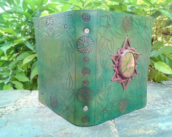 Hand made Leather binder with Unakite crystal