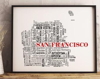 San Francisco Map Art, San Francisco Art Print, San Francisco Neighborhood Map, San Francisco Typography Art, San Francisco Wall Decor