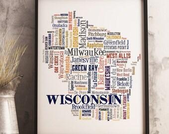 Wisconsin Map Art, Wisconsin Art Print, Wisconsin City Map, Wisconsin Typography Art, Wisconsin Poster Print, Wisconsin Word Cloud