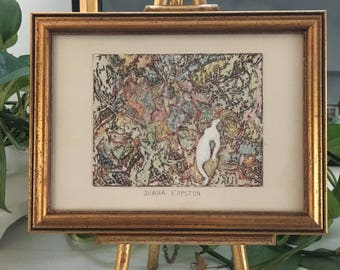 Vintage Mid Century/Hollywood Regency Abstract Drawing Painting Artwork- Signed