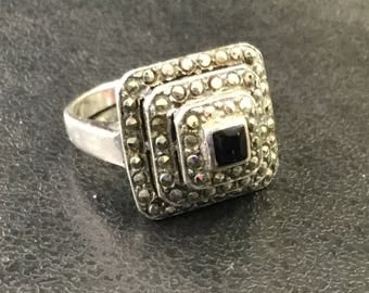 Silver marcasite and onyx square ring