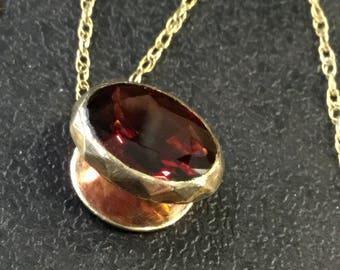 Victorian Gold Garnet slider pendant on chain