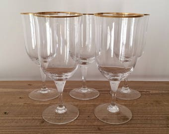 Set of 5 Vintage Noritake Gold & Platinum Iced Tea Glasses