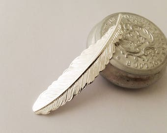 Print 1 53x12.5mm feather silver plated brass perfect for ring
