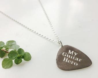 Personalised Guitar Pick Necklace - Sterling Silver Guitar Pick Necklace - Guitar Pick Necklace