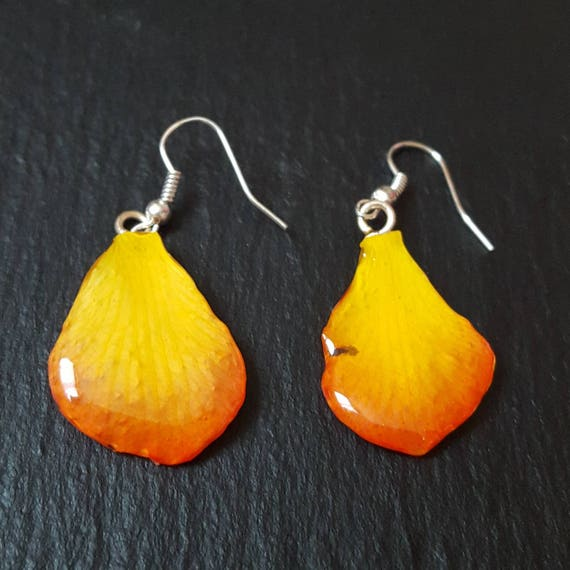 real orchid Dendrobium Lucy petal earrings in orange and yellow