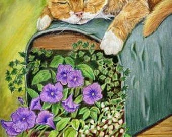 "4 orange tabby cat greeting cards,  w/envelopes,  ""Retired"",   5 1/2"" x 4 1/4"", cat asleep on mailbox, Heather Anderson  artist"