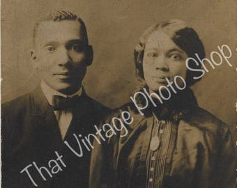 Vintage Photograph, RPPC African American  Couple